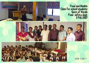 Training school students on Food safety and health.